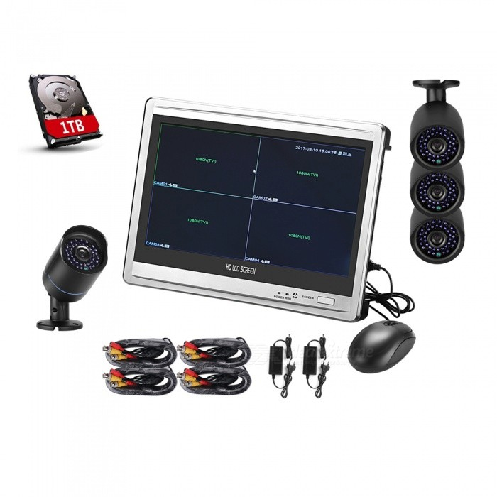 "Cotier 12.5"" Screen New 720P CCTV System 4CH DVR Kit - Black"