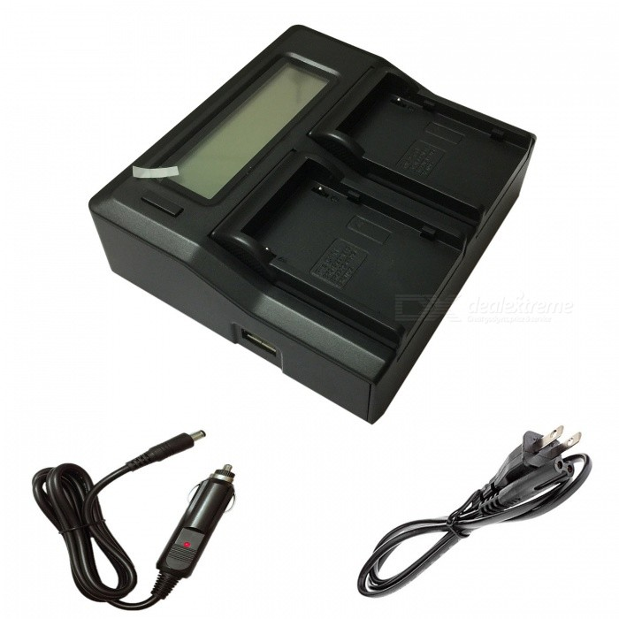 Ismartdigi BP930 amerikanske LCD Dual Charger w / Car ladekabel for Canon