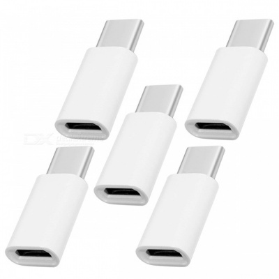 USB 3.1 Type-C Male to Micro USB Female Adapters (5 PCS) - White
