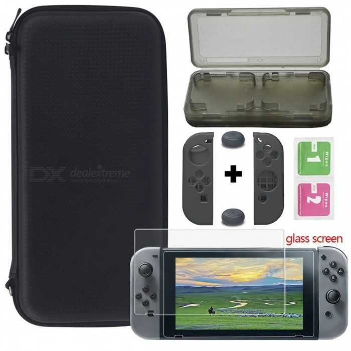 Buy Portabable Travel Kit w/ Pouch + Screen Protector for Nintendo Switch with Litecoins with Free Shipping on Gipsybee.com
