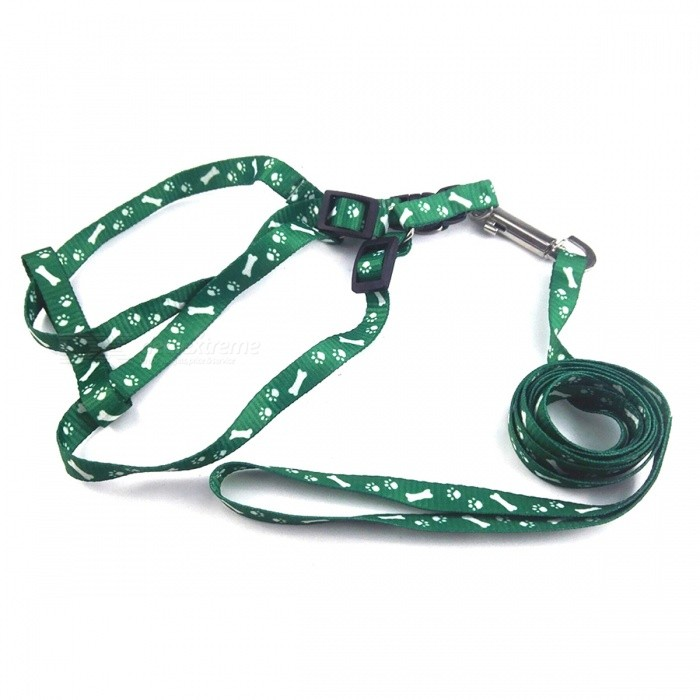 Adjustable Nylon Embroidery Printed Harness Lead Leash for Pet - Green