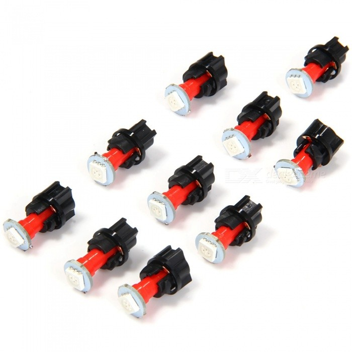 QooK 0.2W T5 LED 5050SMD Instrument Panel Dash Light Bulbs (10 Sets)Signal Lights<br>Color BINRedModeljhbk786Quantity10 DX.PCM.Model.AttributeModel.UnitMaterialPVCEmitter TypeOthers,5050SMDChip TypeSMDPowerOthers,0.2WActual Lumens60 DX.PCM.Model.AttributeModel.UnitRate Voltage12VConnector TypeOthers,T6Packing List10 x Instrument panel lights10 x Lamp holders<br>