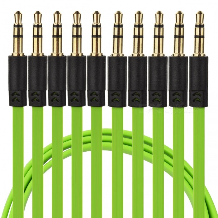 JEDX YG-35 3.5mm M-M 104cm Flat Audio Cables - Green (5 PCS)Audio And Video Cables<br>Form  ColorGreen (5 PCS)ModelYG-35MaterialCopperQuantity1 DX.PCM.Model.AttributeModel.UnitShade Of ColorGreenCable Length104 DX.PCM.Model.AttributeModel.UnitConnector GenderMale to MaleConnector3.5mmPacking List5 x Cables<br>
