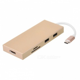 BSTUO USB3.1 Type-C to HDMI + USB 3.0 Hub / SD TF Card Reader - Golden