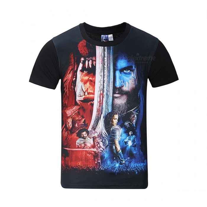 Buy MB0159 3D Printing Warcraft Motifs T-shirt - Black + Multicolor (XL) with Litecoins with Free Shipping on Gipsybee.com