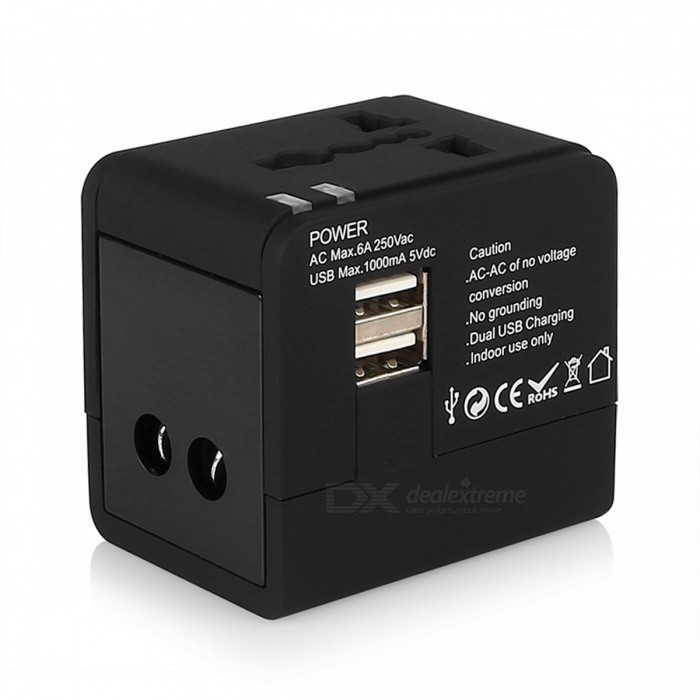 BSTUO All-in-One Universal International Plug Adapter w/ 2 USB PortsUSB Hubs &amp; Switches<br>Form  ColorBlackModelN/AQuantity1 DX.PCM.Model.AttributeModel.UnitMaterialABSShade Of ColorBlackIndicator LightYesPort Number2Spacing0.3cmCurrent Output1AWith Switch ControlYesInterfaceUSB 2.0,Others,US/EU/AU/UKTransmission Rate480 DX.PCM.Model.AttributeModel.UnitPowered ByAC ChargerSupports SystemWin xp,Win 2000,Win vista,Win7 32,Win7 64,Win8 32,Win8 64,MAC OS X,IOS,Linux,Android 2.x,Android 4.xPacking List1 x USB charger<br>