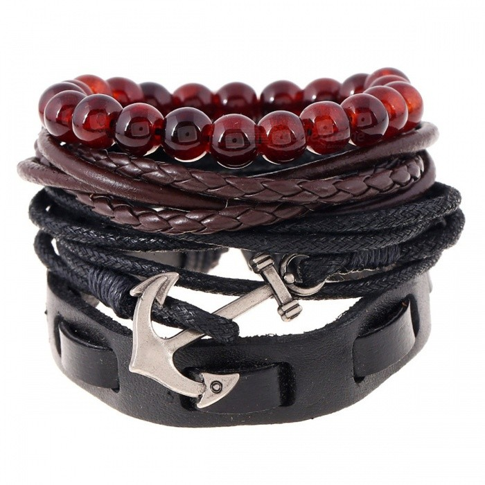 Buy Vintage Navy Boat Anchor Woven Leather Bracelets - Black + Deep Brown with Litecoins with Free Shipping on Gipsybee.com