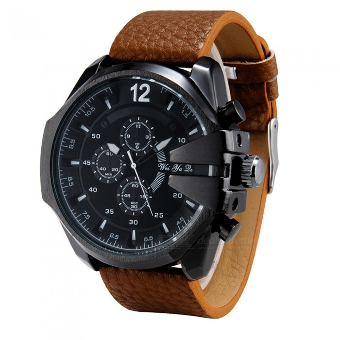 Weiyaqi 8901 3 Decorative Sub-dials Men's Quartz Watch - Black + Brown for sale for the best price on Gipsybee.com.