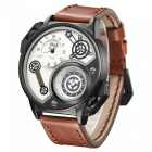 Oulm-Oversize-Case-Leather-Strap-Mens-Quartz-Watch-White-2b-Brown