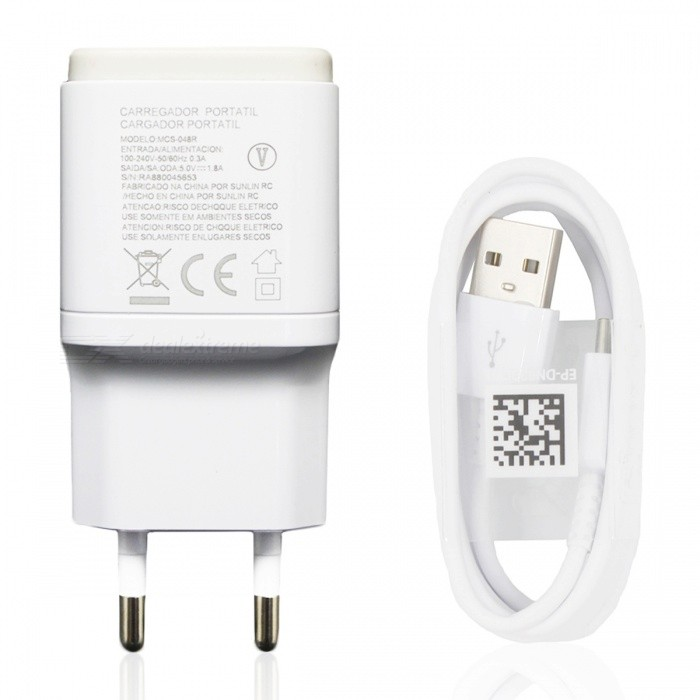 USB 5V 1.8A Adaptive Fast Charger + Charging Cable - Black (EU Plug)AC Chargers<br>Form  ColorWhitePower AdapterEU PlugModelN/AMaterialABSQuantity1 DX.PCM.Model.AttributeModel.UnitCompatible ModelsGALAXY S8/GALAXY S8 edgeOutput Current1.8 DX.PCM.Model.AttributeModel.UnitInput Voltage100-240 DX.PCM.Model.AttributeModel.UnitOutput Voltage5 DX.PCM.Model.AttributeModel.UnitCable Length100 DX.PCM.Model.AttributeModel.UnitPacking List1 x EU Charger1 x Charger cable<br>