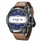 Oulm-Oversize-Case-Leather-Strap-Mens-Quartz-Watch-Blue-2b-Brown
