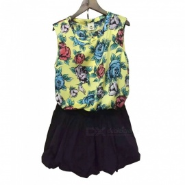 Small-Flower-Summer-Loose-Top-Puff-Skirt-Rose-Sleeveless-Dress