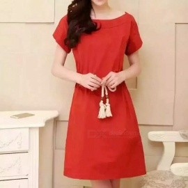 Europe-and-United-States-Loose-Text-Hemp-Linen-Waist-Dress-Red-(M)