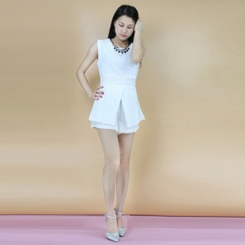 Fashion-Polyester-Sleeveless-Slim-Shirt-2b-Shorts-Suit-White-(XL)