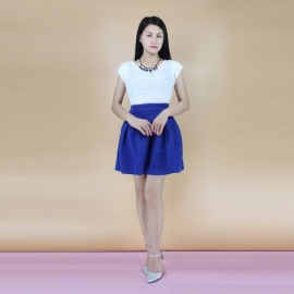 Fragrant-Sleeveless-Puff-Skirt-2b-Jacket-Two-Set-Suit-White-2b-Blue