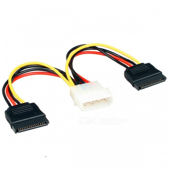 Kitbon 4 Pin IDE Molex to 2 x 15 Pin SATA Power Cable - Black + Red