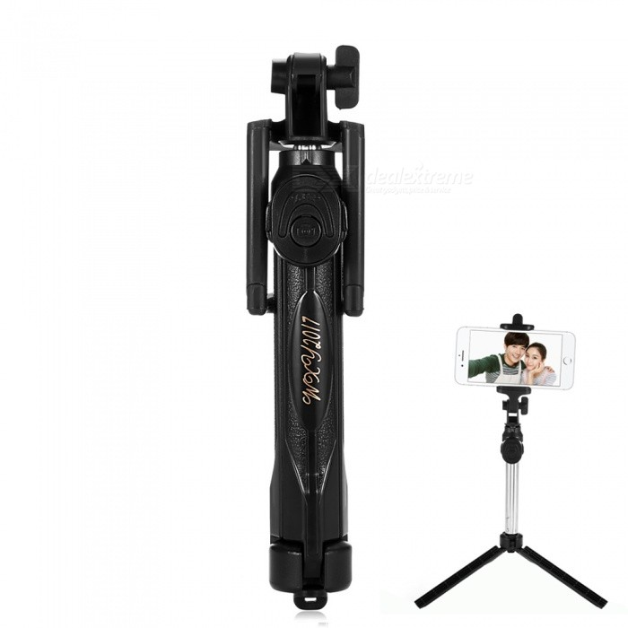 ST-12 Universal Bluetooth 3.0 Self-timer w/ Tripod for Mobile - BlackMounts &amp; Holders<br>Form  ColorBlackModelST-12Quantity1 DX.PCM.Model.AttributeModel.UnitMaterialABSCompatible ModelsiPhone 7,iPhone 7 PLUS,IPHONE 6S PLUS,IPHONE 6 PLUS,IPHONE 6S,IPHONE 6,IPHONE 5S,IPHONE 5C,IPHONE 5,IPHONE 4,IPHONE 4S,Others,Applicable to Apple, Samsung, Huawei, millet and all other mobile phone models.Compatible Size5.5-8.5 DX.PCM.Model.AttributeModel.UnitMount TypeDesktopRotationOthers,270 DX.PCM.Model.AttributeModel.UnitWith ChargerNoPacking List1 x Bluetooth self-timer (built-in button battery)<br>