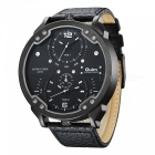 Oulm-Mens-Casual-Quartz-Watch-w-Leather-Strap-Black-2b-Silver