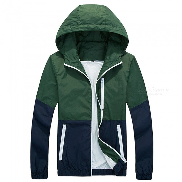 Thin Hooded Sun Protection Windbreaker Jacket - Army Green