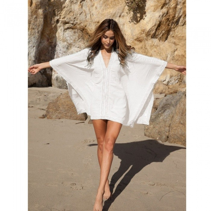 Buy Large Size Loose Style Sunscreen Bikini Blouse Beach Skirt - White with Litecoins with Free Shipping on Gipsybee.com