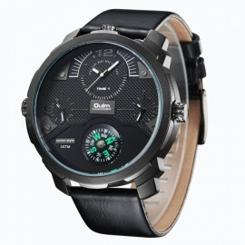 Oulm-Mens-Casual-Quartz-Watch-w-Leather-Strap-Black