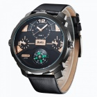 Oulm-Mens-Casual-Quartz-Watch-w-Leather-Strap-Black-2b-Golden