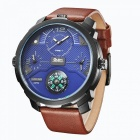 Oulm-Leather-Strap-Casual-Mens-Quartz-Watch-Blue-2b-Brown