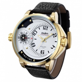 Oulm-Mens-Casual-Quartz-Watch-w-Leather-Strap-White-2b-Golden