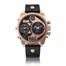 CAGARNY-6822-Leather-Quartz-Analog-Wrist-Watch-Black-2b-Rose-Gold