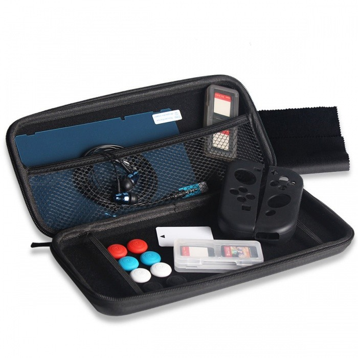 13-in-1 Super Kit w/ Headphone Joy-Con Grips Cases for Nintendo SwitchCases &amp; Pouches<br>Form  ColorBlackQuantity1 DX.PCM.Model.AttributeModel.UnitMaterialPU+ABSShade Of ColorBlackCompatible ModelsOthers,Nintendo SwitchTypeBack CoversPacking List1 x Carry Bag1 x LCD Film1 x Card for Scraping Film4 x Analog thumb caps2 x Silicon Cases1 x Earphone1 x Cloth for wiping Film2 x Game Card Cases (Not include card)<br>