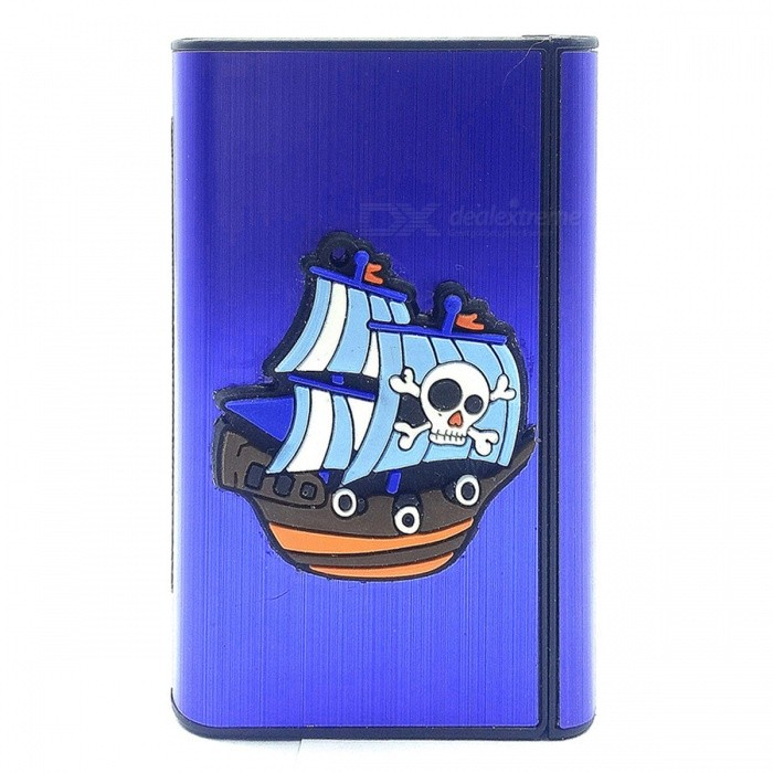 Novel Pirate Ship Pattern Cigarette Storage Case / Lighter - Blue