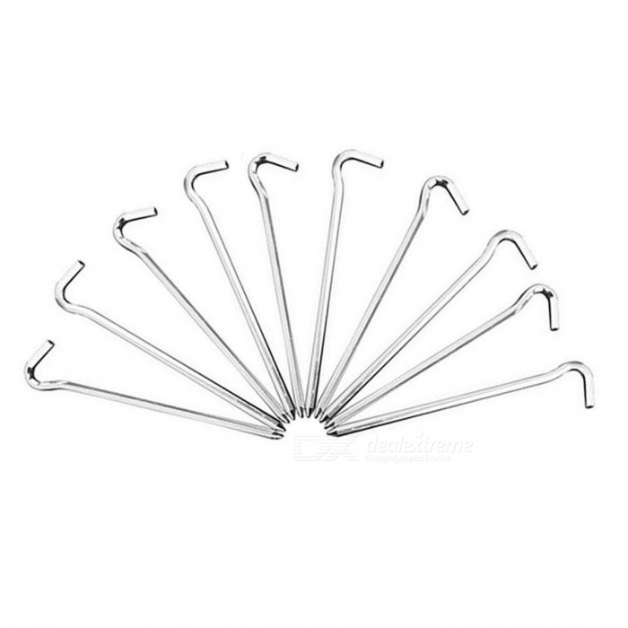 7 Letter Shaped Aluminium Alloy Tent Stakes - Silver (10 PCS)
