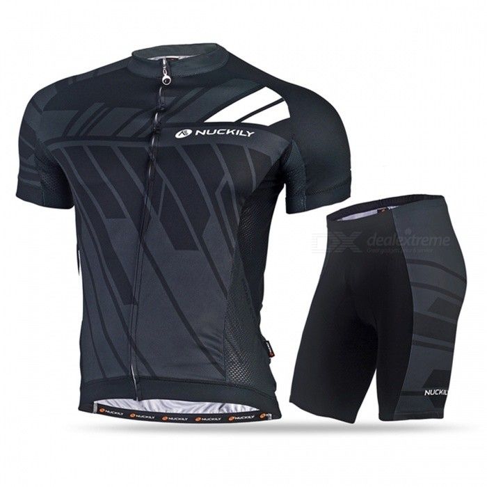 Buy NUCKILY Cycling Short-Sleeved Suits for Men / Women - Gray (L) with Litecoins with Free Shipping on Gipsybee.com