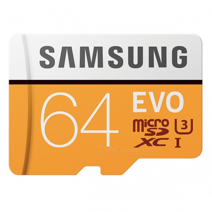 Samsung 64GB 100MB/s (U3) Micro SDXC EVO Memory Card - OrangeMicroSD TF Cards<br>Capacity64GBBrandSamsungModelMB-MP64G/CNQuantity1 pieceForm  ColorOrangeSpeed ClassUHS-I (U3)Max Read Speed100M/BMax Write Speed20M/BOverwrite Protection SwitchNoPacking List1 x MB-MP64G/CN<br>