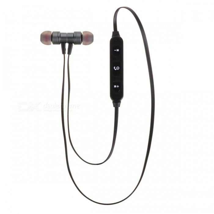 Cwxuan Magnetic Bluetooth Wireless Sport Metal In-Ear Earphone - BlackHeadphones<br>Form  ColorBlackBrandCwxuanMaterialAluminum alloy + ABSQuantity1 DX.PCM.Model.AttributeModel.UnitConnectionBluetoothBluetooth VersionBluetooth V4.2Operating Range10mConnects Two Phones SimultaneouslyNoHeadphone StyleBilateral,In-EarWaterproof LevelIPX0 (Not Protected)Applicable ProductsUniversal,IPHONE 7,IPHONE 7 PLUSHeadphone FeaturesHiFi,English Voice Prompts,Phone Control,Long Time Standby,Magnetic Adsorption,Noise-Canceling,Volume Control,With Microphone,Lightweight,Portable,For Sports &amp; ExerciseSupport Memory CardNoSupport Apt-XNoChannels2.0Battery TypeLi-ion batteryBuilt-in Battery Capacity 90 DX.PCM.Model.AttributeModel.UnitStandby Time80 DX.PCM.Model.AttributeModel.UnitTalk Time5 DX.PCM.Model.AttributeModel.UnitMusic Play Time3 DX.PCM.Model.AttributeModel.UnitPacking List1 x Wireless Bluetooth headset1 x USB Charge cable<br>