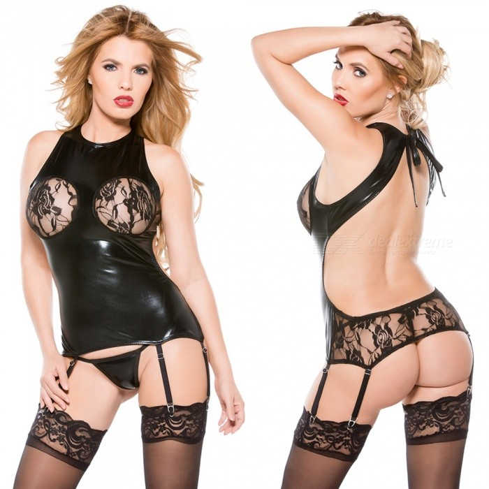 Leather sexy lingerie