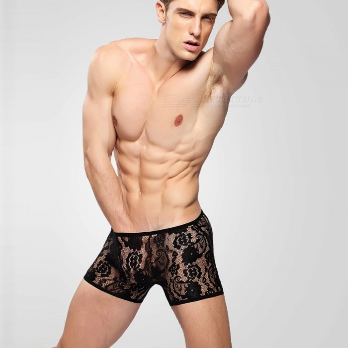Sexy Perspective Lace Jacquard Flat Angle Men's Underwear