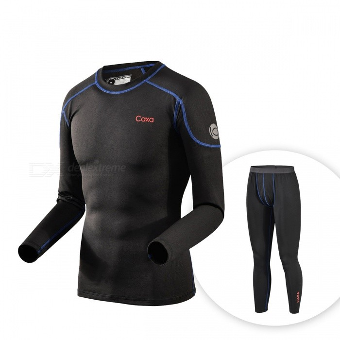 Buy CAXA Men's Thermal Underwear Suit for Outdoor Sports - Black (XL) with Litecoins with Free Shipping on Gipsybee.com