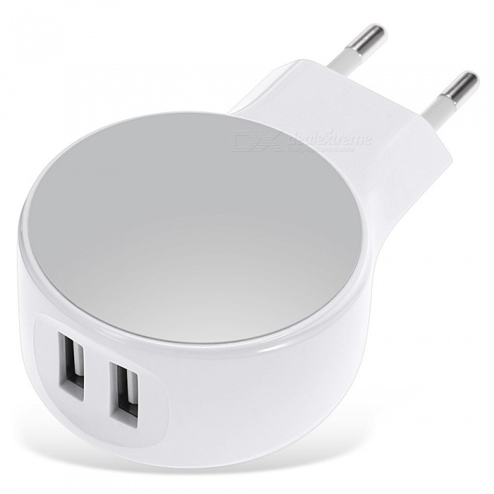 Dual USB 2.1A UE Plug Power Adapter Wall Cargador - Blanco (100-240V)