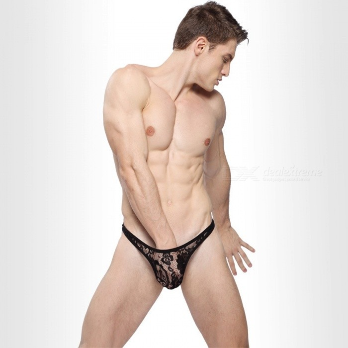 Buy Sexy Low Waist Perspective Lace Men's Pants Underwear - Black (L) with Litecoins with Free Shipping on Gipsybee.com