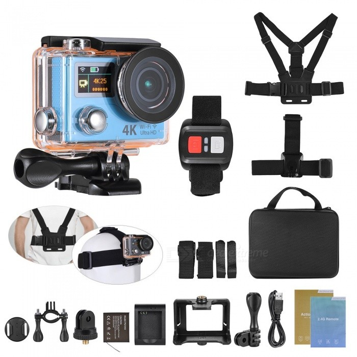 Buy 4K 1080P 60fps FHD 12MP WiFi Sports Action Camera with Remote - Blue with Litecoins with Free Shipping on Gipsybee.com