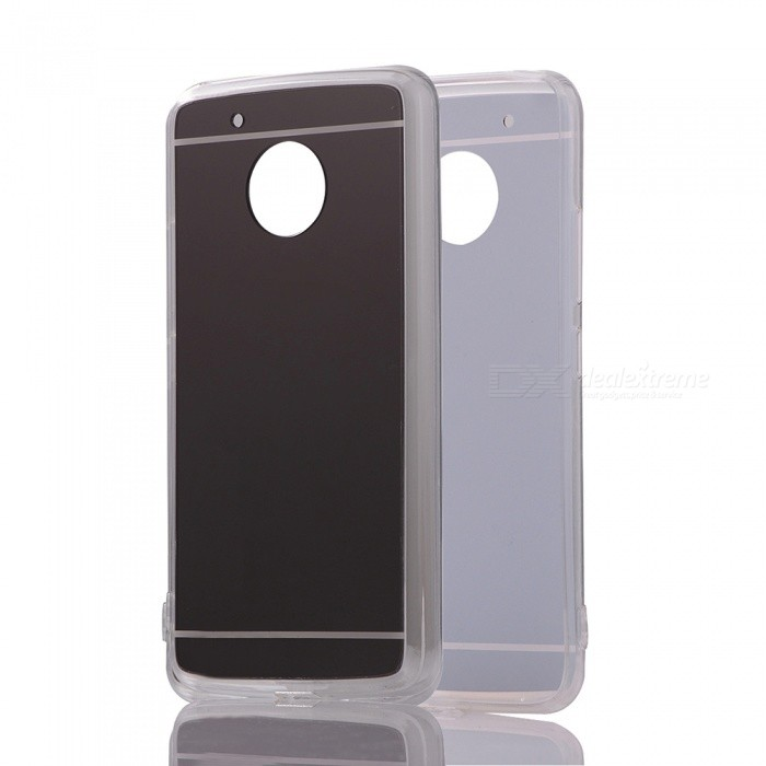 Protective TPU PC Back Case for Moto G5 Plus - Translucent BlackTPU Cases<br>Form  ColorBlackModelN/AMaterialOthers,TPU + PCQuantity1 pieceShade Of ColorBlackCompatible ModelsMoto G5 PlusOther FeaturesDesigned solid color; Stylish mirror effectPacking List1 x Case<br>