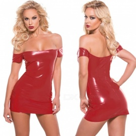 Sexy-Paint-Leather-Off-Shoulder-Fun-Dress-Red