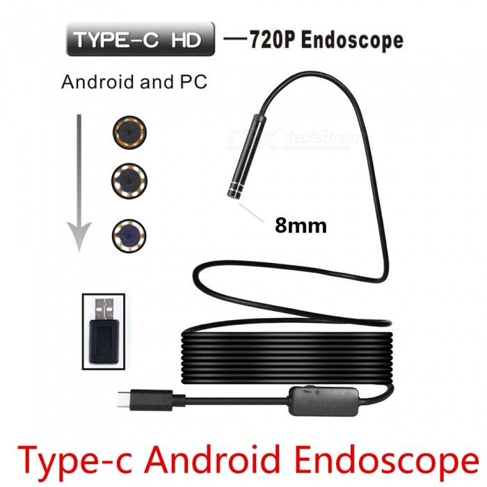 BLCR 8mm 8-LED 720P USB Type-C Android PC Endoscope (5m)Microscopes &amp; Endoscope<br>Snake Cable Length5m softwireModelN/AQuantity1 DX.PCM.Model.AttributeModel.UnitForm  ColorBlackMaterialPlasticCamera Pixels2.0MPCompatible OSAndroid (with Type-C port)/Windows 2000 / XP / Vista / 7 / 8 / 10, MacBook OSCamera head outer diameter8mmLED Bulb Qty8InterfaceType-C, USBPacking List1 x Type-C Endoscope1 x Small Hook1 x Magnet1 x Side Audition1 x Type-C Female to USB male adapter1 x User Manual (other accessories demo in the picture is not included.)<br>