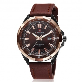 NAVIFORCE-9056-Mens-Sports-Army-Leather-Wrist-Quartz-Watch