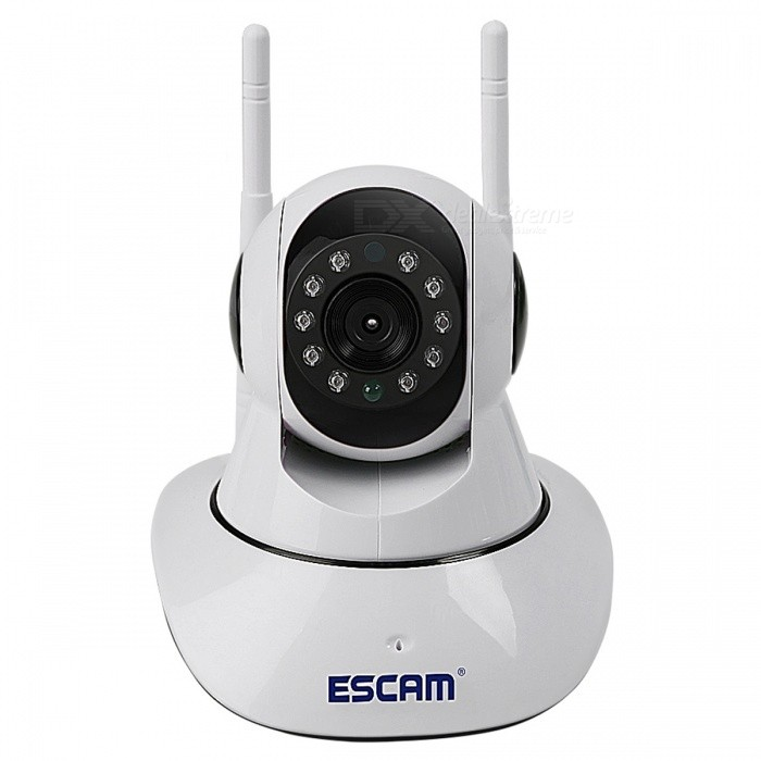 ESCAM G02 HD 720P Pan Tilt Indoor Wireless WiFi IP Camera (EU Plug)IP Cameras<br>Form  ColorWhitePower AdapterEU PlugModelG02MaterialABSQuantity1 setImage SensorCMOSImage Sensor SizeOthers,1/4inchPixels720PLens3.6mmViewing AngleOthers,62 °Video Compressed FormatH.264Picture Resolution1280 x 720Frame Rate25Input/OutputBuilt in microphone/Built in speakerAudio Compression FormatOthers,G.711AMinimum Illumination0.8 LuxIR-LED Quantity10Night Vision Distance8 mWireless / WiFi802.11 b / g / nNetwork ProtocolTCP,IP,HTTP,SMTP,FTP,DHCP,DDNS,uPnPSupported SystemsXP,Vista,7Supported BrowserIE 6.0 and above,Google ChromeSIM Card SlotStandard SIM CardOnline Visitor5IP ModeDynamic,StaticMobile Phone PlatformAndroid,iOSFree DDNSYesIR-CUTYesBuilt-in Memory / RAMNoLocal MemoryYesMemory CardIFMax. Memory Supported128GBMotorYesRotation Angle355 degrees, 120 degreesSupported LanguagesEnglish,Simplified ChineseWater-proofYesRate VoltageDC5±0.3VRated Current2 AIntercom FunctionYesCertificationCE, RoHSPacking List1 x IP camera1 x Power adapter1 x USB cable1 x Manual1 x Mounting bracket1 x Pack of screws<br>