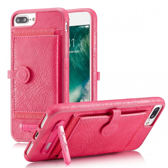 BLCR PU Leather Case with Card Slots for IPHONE 7 - PinkLeather Cases<br>Form  ColorPinkQuantity1 DX.PCM.Model.AttributeModel.UnitMaterialPUCompatible ModelsiPhone 7StyleBack CasesDesignWith Stand,Card SlotPacking List1 x Case<br>
