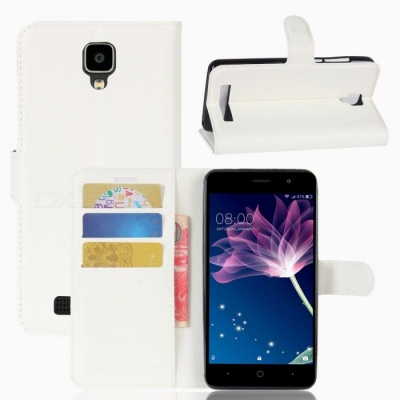 PU Leather Wallet Cases with Card Slots for Doogee X10 - White