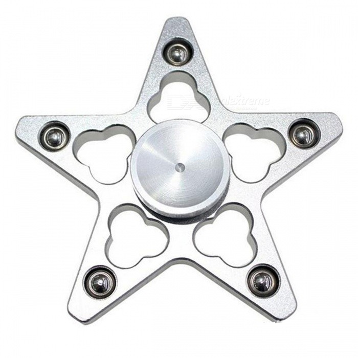OJADE Five Pointed Star Fidget Toy Hand Spinner Finger Toy - Silver