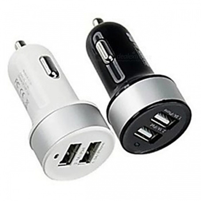SZKINSTON Dual USB Car Charger for Mobile Phones, Tablet (2 PCS)Car Power Chargers<br>Form  ColorBlack + WhiteModelKST1704040MaterialPlastic + Conductive materialQuantity1 DX.PCM.Model.AttributeModel.UnitCompatible ModelsUniversalInput Voltage12-24 DX.PCM.Model.AttributeModel.UnitOutput Current2.1<br>1 DX.PCM.Model.AttributeModel.UnitOutput Power5 DX.PCM.Model.AttributeModel.UnitOutput Voltage5 DX.PCM.Model.AttributeModel.UnitPower AdapterCar Cigarette Lighter PlugCable Length150 DX.PCM.Model.AttributeModel.UnitQuick ChargeyesLCD displayNoLED IndicatorYesPacking List2 x Car Power Chargers<br>